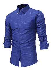 Camouflage Button Down Collar Men Shirts