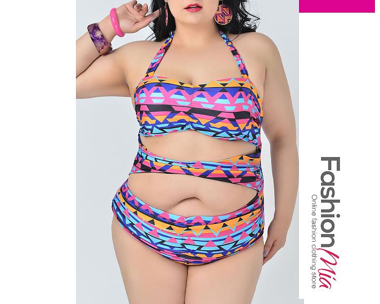 Geometric Plus Size Swimwear