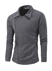 Lapel-Zips-Pocket-Plain-Men-Coat