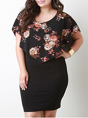 Floral Printed Plus Size Bodycon Dresses