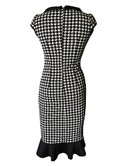 Doll Collar Houndstooth Mermaid Bodycon Dress