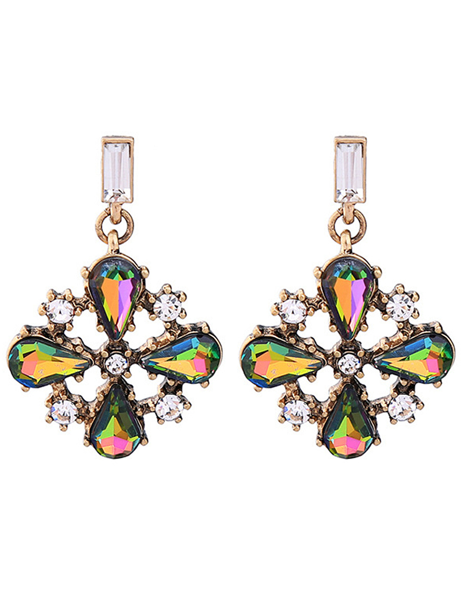 Faux Crystal Floral Drop Earrings
