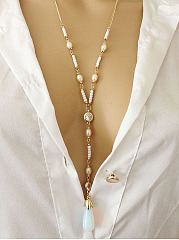 Long Moonstone Pearl Pendant Necklace