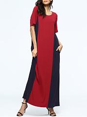 Loose-Color-Block-Round-Neck-Pocket-Maxi-Dress