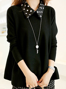 Fold Over Collar  Patchwork  Plain Pullover