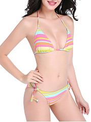 Attractive Halter Striped Triangle Bikini