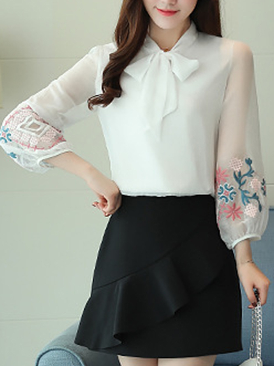 Tie Collar Embroidery See-Through Puff Sleeve T-Shirt