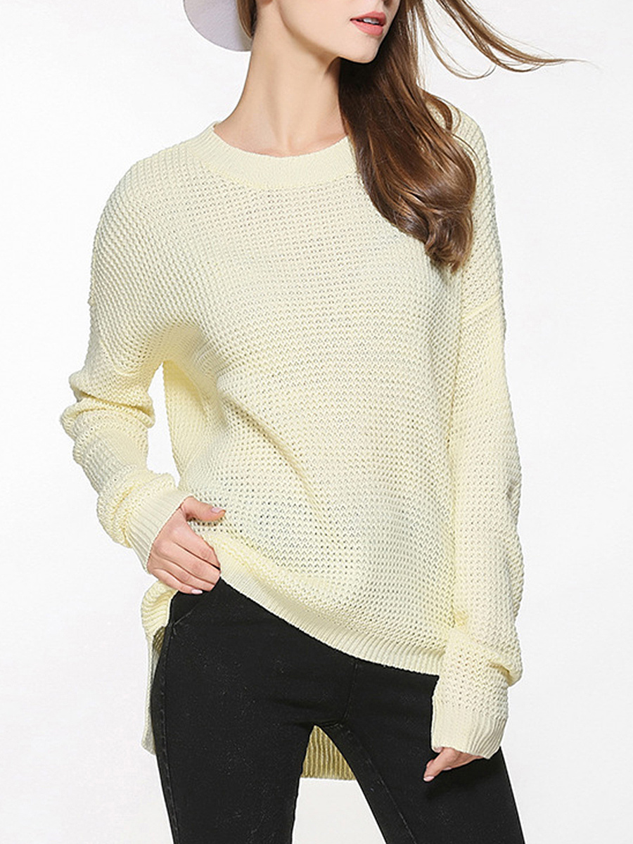 Loose Round Neck Plain Pullover