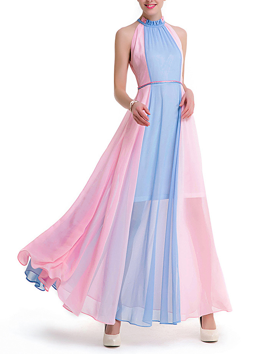 Band Collar Color Block Hollow Out Chiffon Maxi Dress