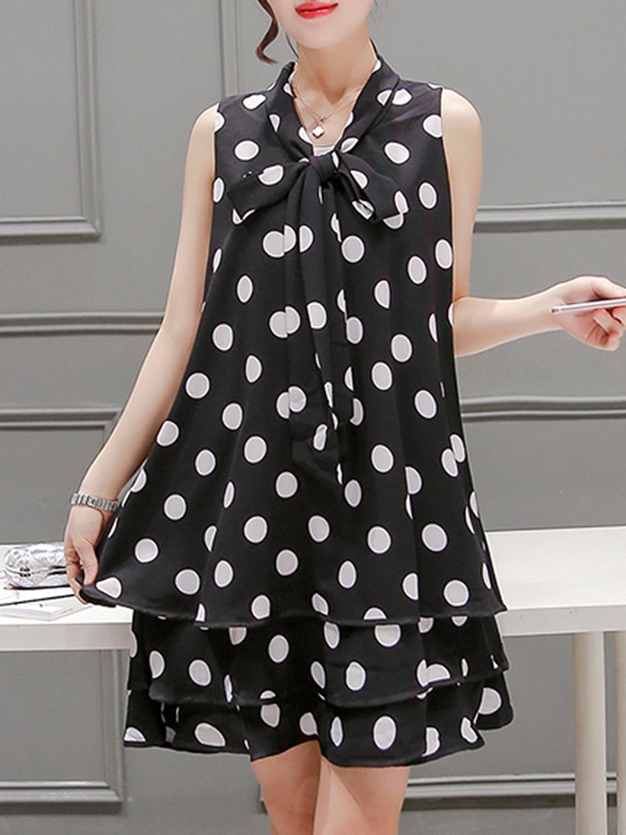 Summer Tie Collar Polka Dot Chiffon Mini Shift Dress