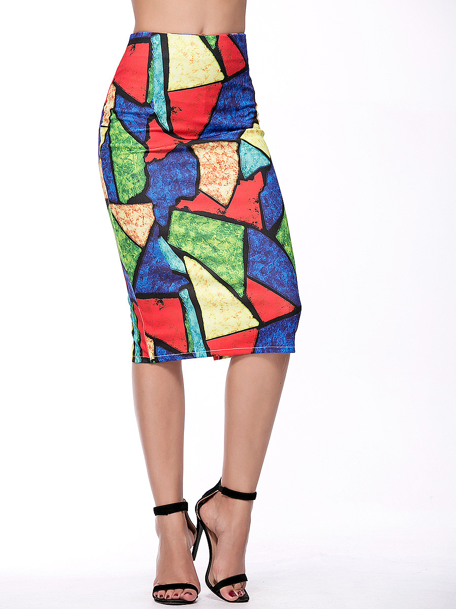 Captivating Slit Color Block Pencil Midi Skirt