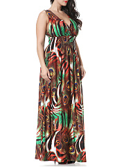 Empire Elastic Waist Deep V-Neck Plus Size Maxi Dress In Feather Printed