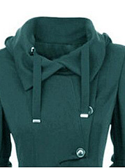 Fold-Over Collar  Single Breasted  Decorative Hardware  Plain  Long Sleeve Coats