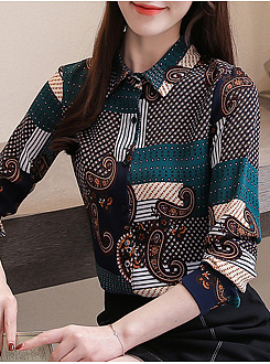 A Lapel  Patchwork  Elegant  Printed  Long Sleeve  Blouse