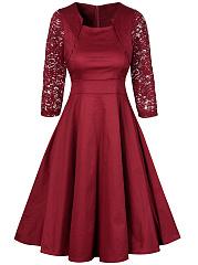 Asymmetric-Neck-Patchwork-Ruffled-Hem-Plain-Cotton-Skater-Dress