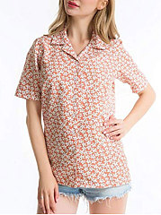 Spring Summer  Chiffon  Women  Turn Down Collar  Floral  Short Sleeve Blouses