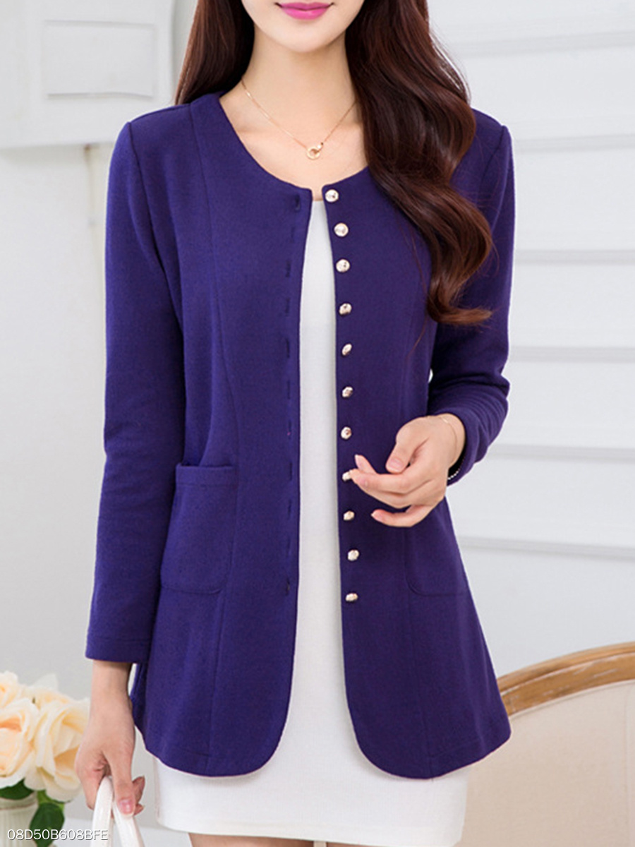 Collarless  Patch Pocket Single Breasted  Plain Blazer