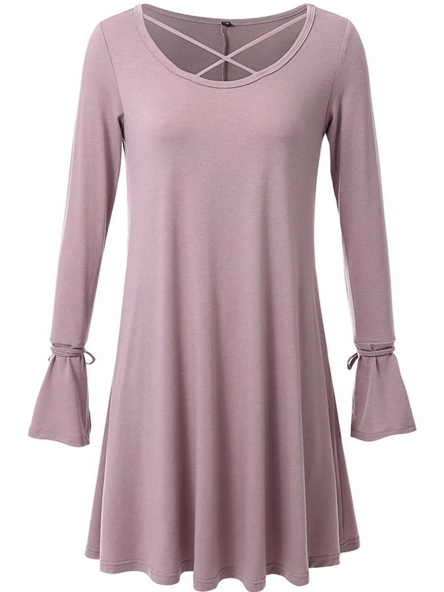 Round Neck Cutout Plain Bell Sleeve Shift Dress