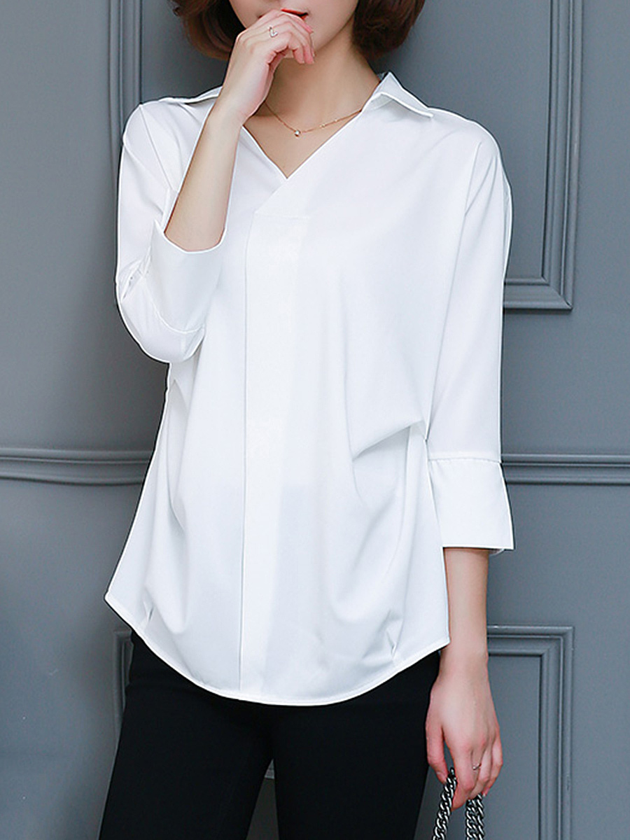 V-Neck Ruched Plain Blouse