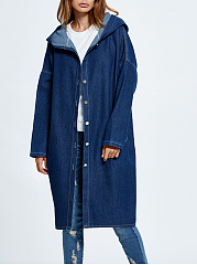 Trench Denim Single Breasted Slit Pocket Plain
