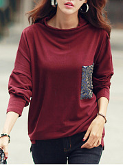 Cowl-Neck-Sequin-Patch-Pocket-Batwing-Sleeve-T-Shirt