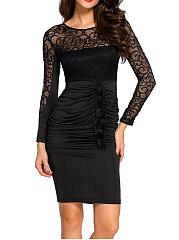 Round-Neck-Patchwork-Ruched-See-Through-Plain-Bodycon-Dress