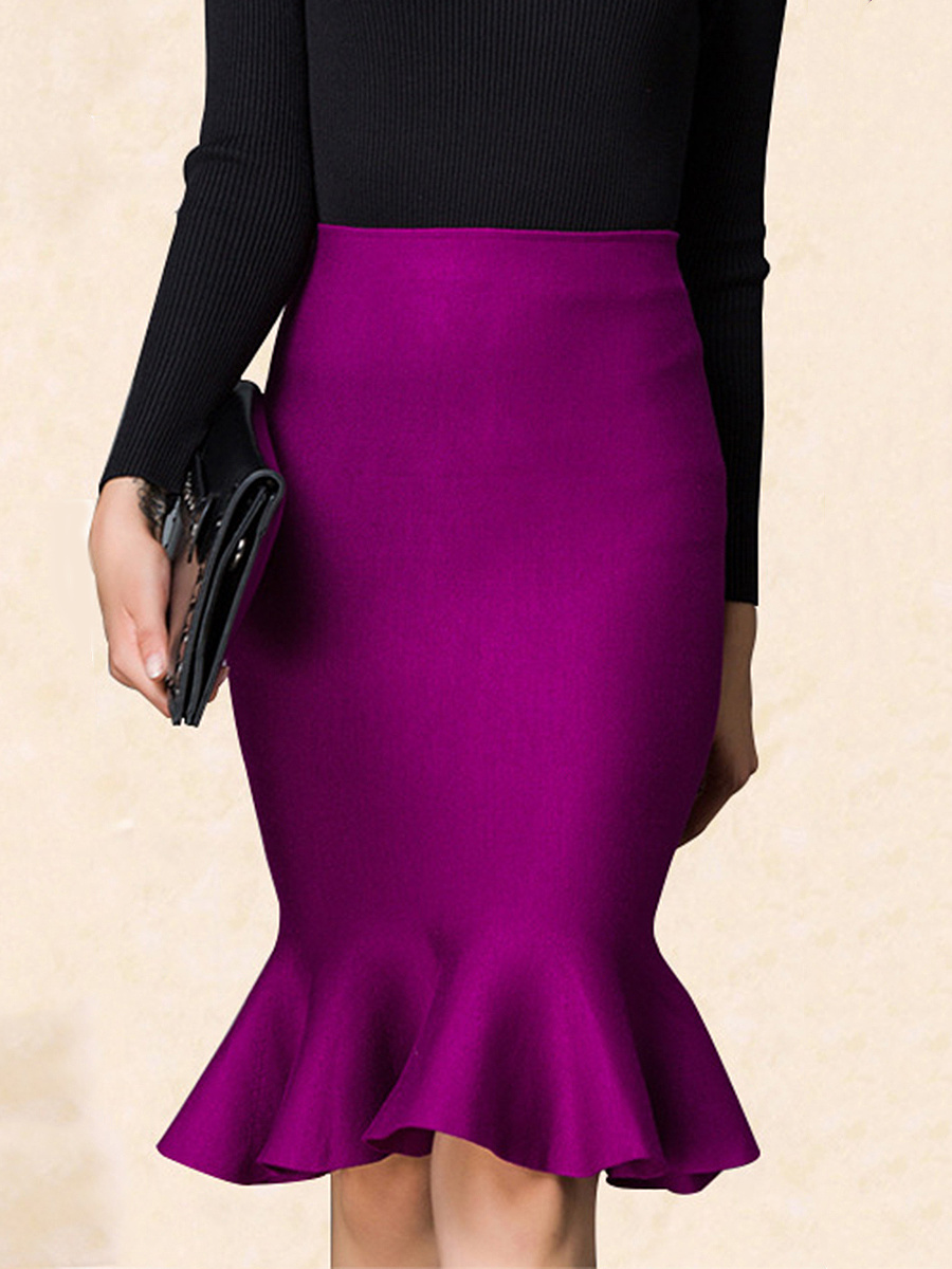 Plain Mermaid Knitted Midi Skirt