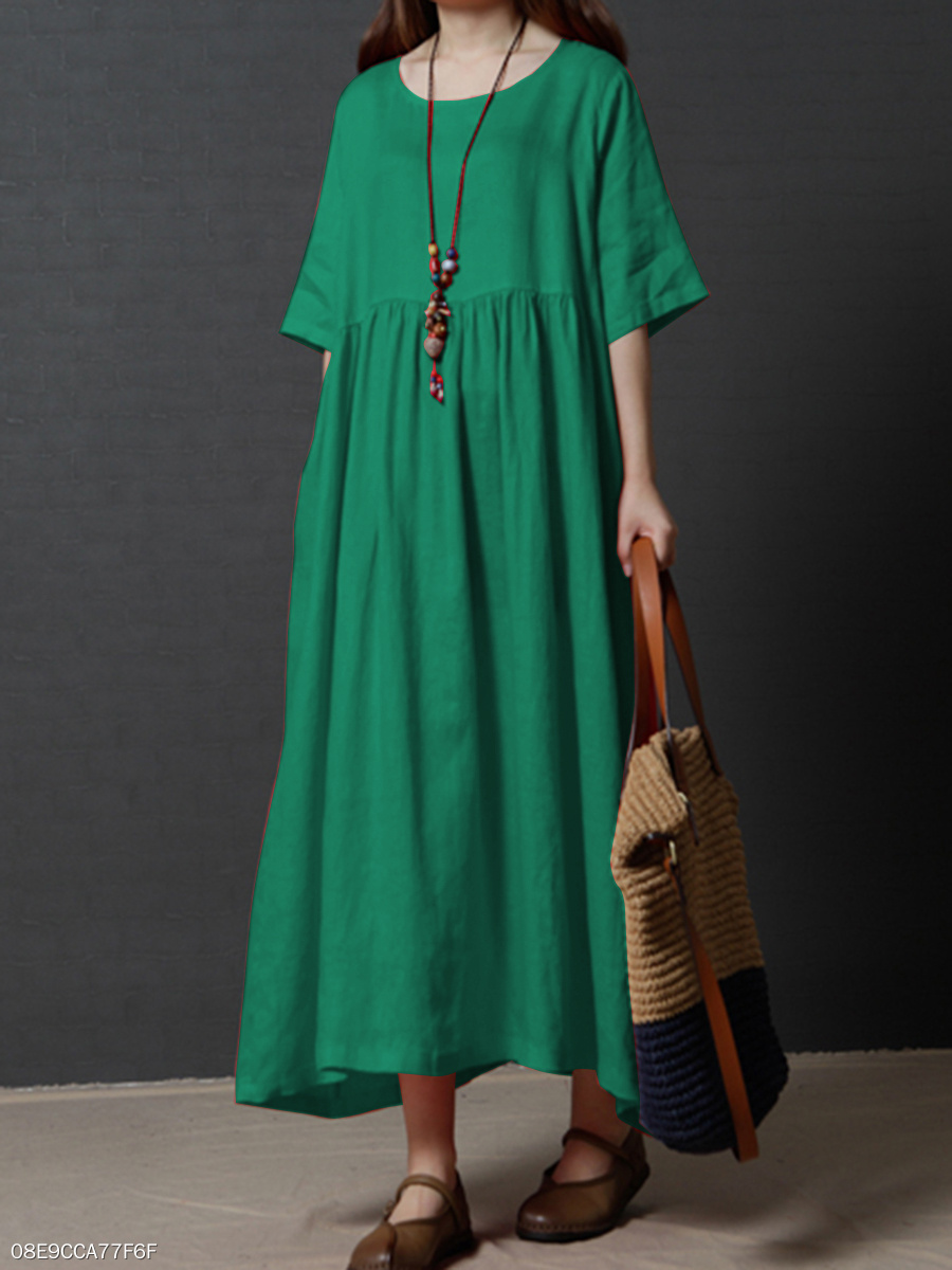 47e405817066 Round Neck Plain Cotton Linen Maxi Dress - fashionMia.com