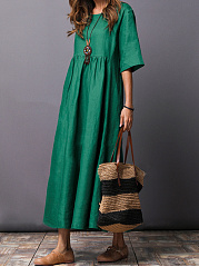 Round-Neck-Plain-CottonLinen-Maxi-Dress