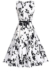 Fabulous-Round-Neck-Belt-Printed-Skater-Dress