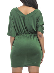 V-Neck  Elastic Waist  Plain Plus Size Bodycon Dress