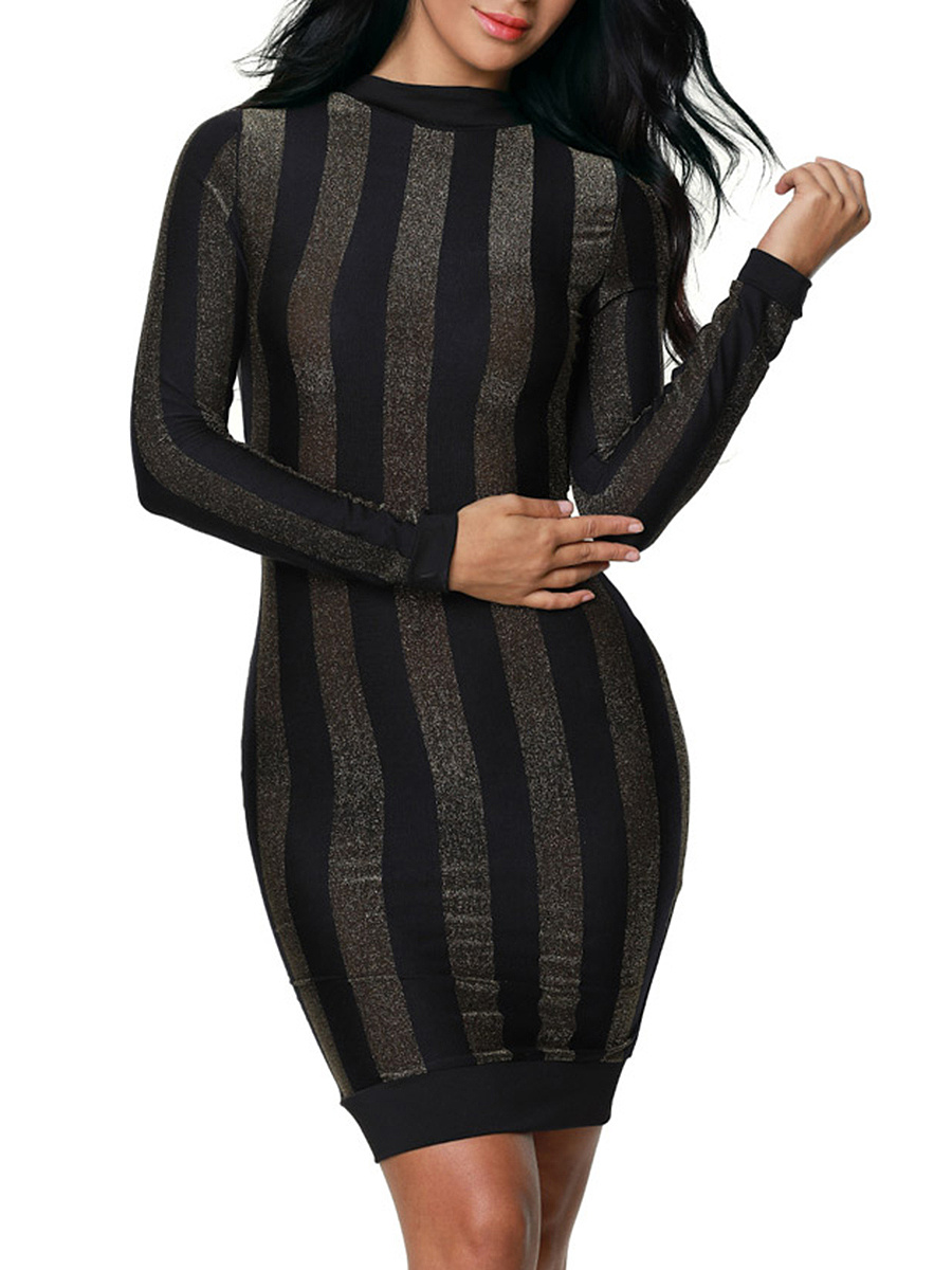 Band Collar Vertical Striped Long Sleeve Bodycon Dress