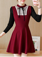 Band Collar  Bowknot Decorative Lace Skater Dress