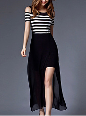 Open Shoulder  Side Slit  Striped Maxi Dress
