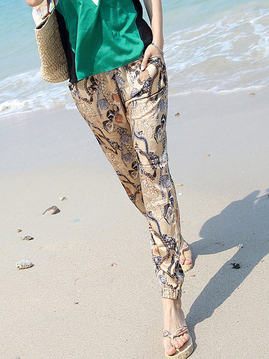 Elastic Waist  Printed  Pegged Casual Pants