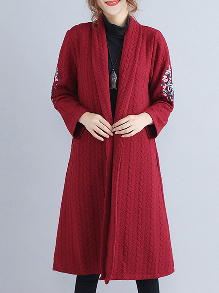 Lapel Embroidery Embossed Pocket Longline Cardigan
