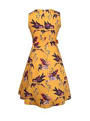 Crew Neck Bird Floral Printed Plus Size Skater Dress