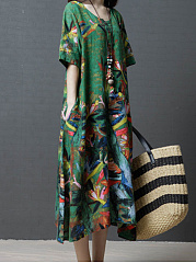 Round Neck  Patch Pocket  Abstract Print Maxi Dress