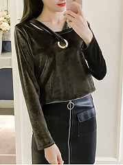 Autumn Spring  Acrylic  Women  Asymmetric Neck  Decorative Hardware  Plain Long Sleeve T-Shirts