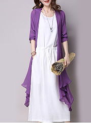 Round Neck  Drawstring  Plain Maxi Dress