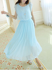 Round Neck Beading Plain Midi Skater Dress