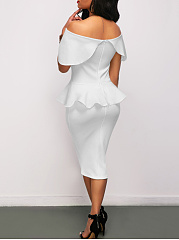 Off Shoulder Plain Peplum Midi Bodycon Dress