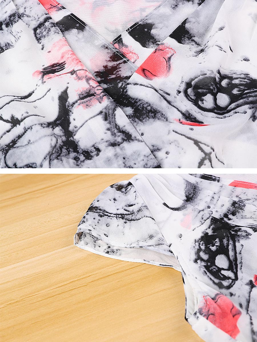 V-Neck Abstract Printed Chiffon Midi Skater Dress
