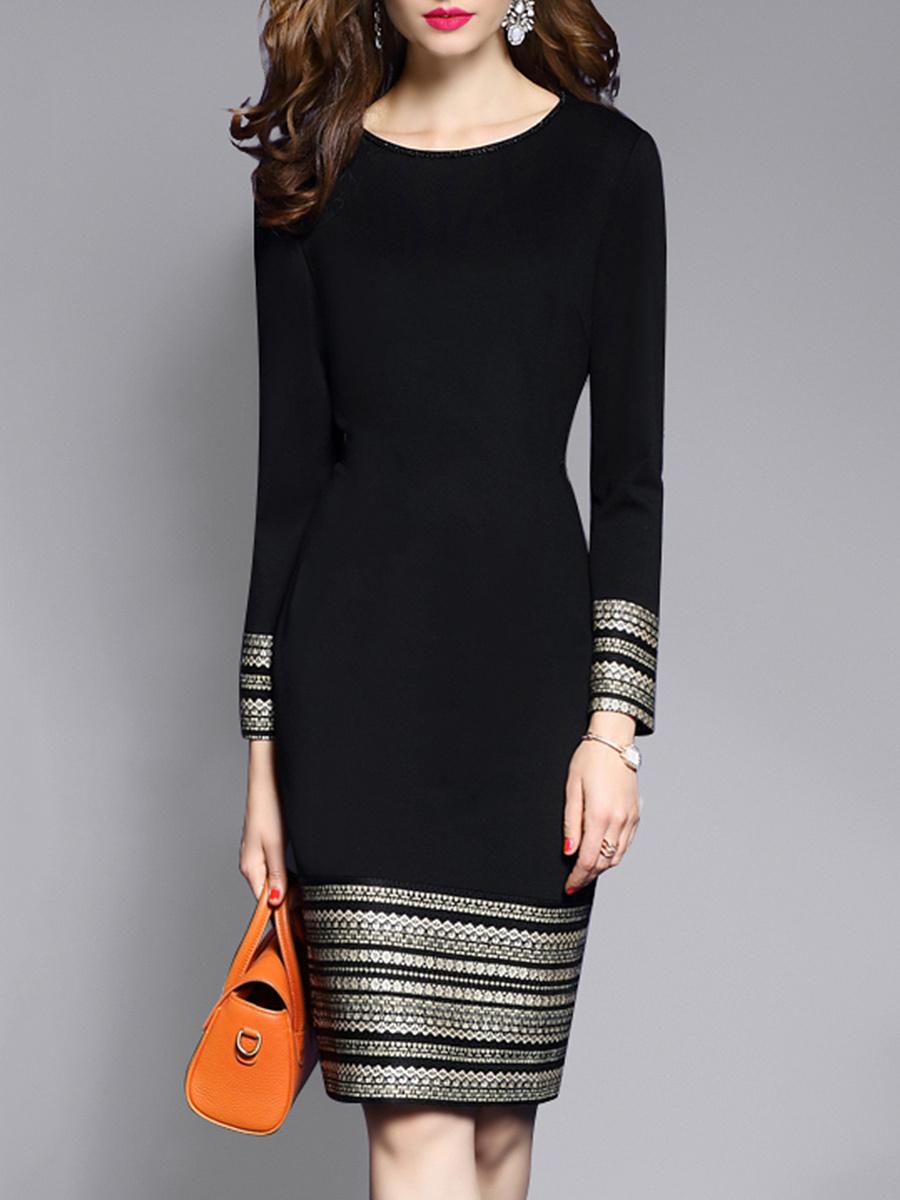 Round Neck  Plain  Blend Bodycon Dress