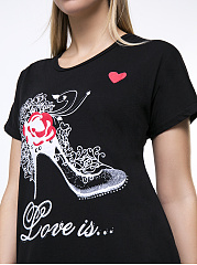 Round Neck High-Heeled Shoe Printed Plus Size T-Shirt