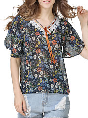 Summer  Polyester  Women  V-Neck  Flounce  Floral Printed  Bell Sleeve  Short Sleeve Blouses