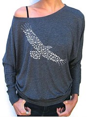 Long-Sleeved Eagles Patterned Slanted Shoulders Sexy Round Neck T-Shirts