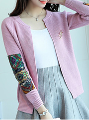 Round Neck  Patchwork  Plain  Long Sleeve Cardigans