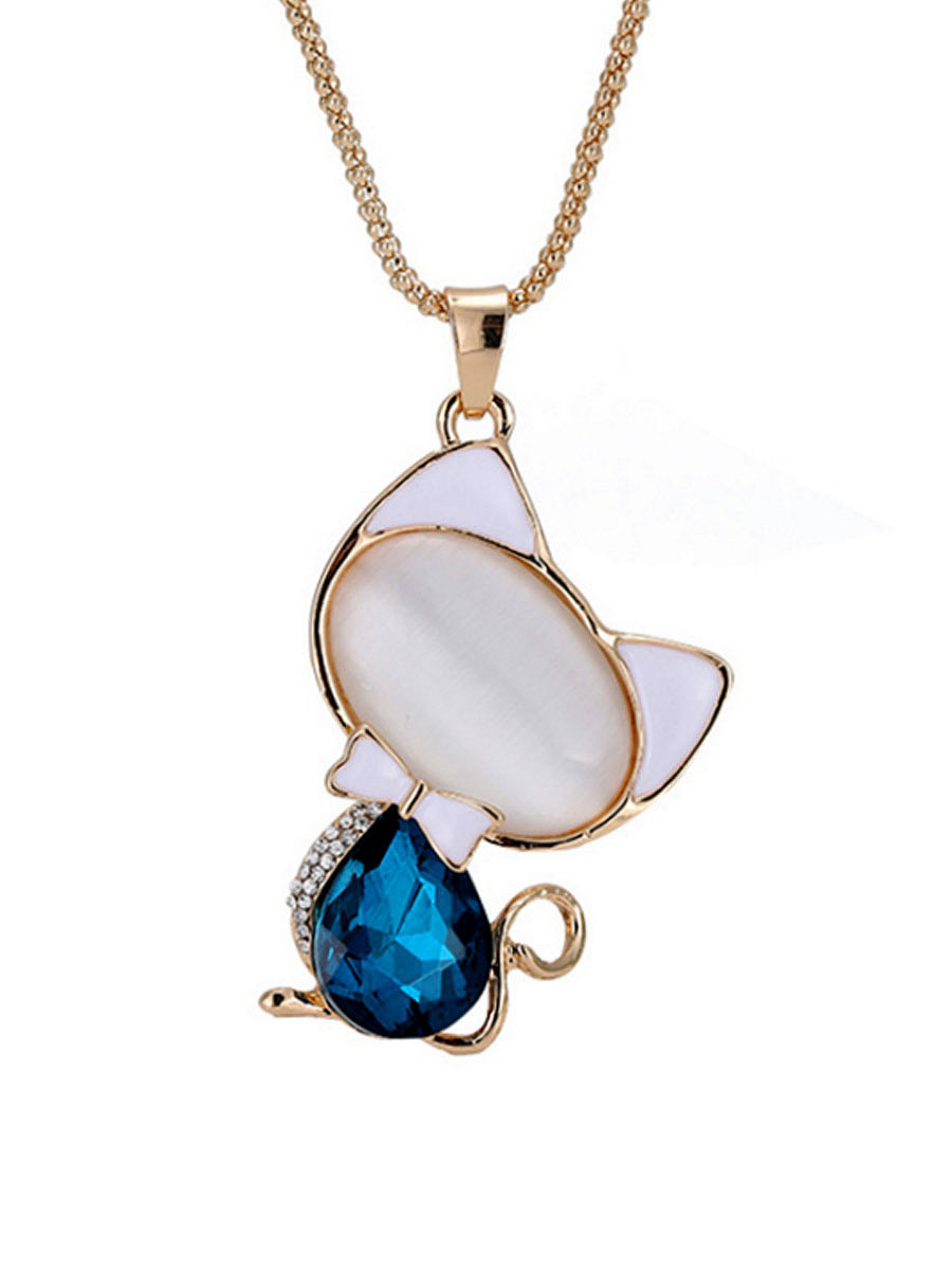 Cute Cat Crystal Pendant Long Necklace