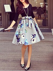 V-Neck Bowknot Floral Printed Skater Dress